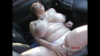 BBW with huge h. boobs outdoor fingering in car