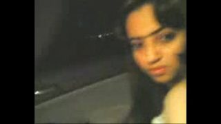 Girl in Car on Juhu Beach at night